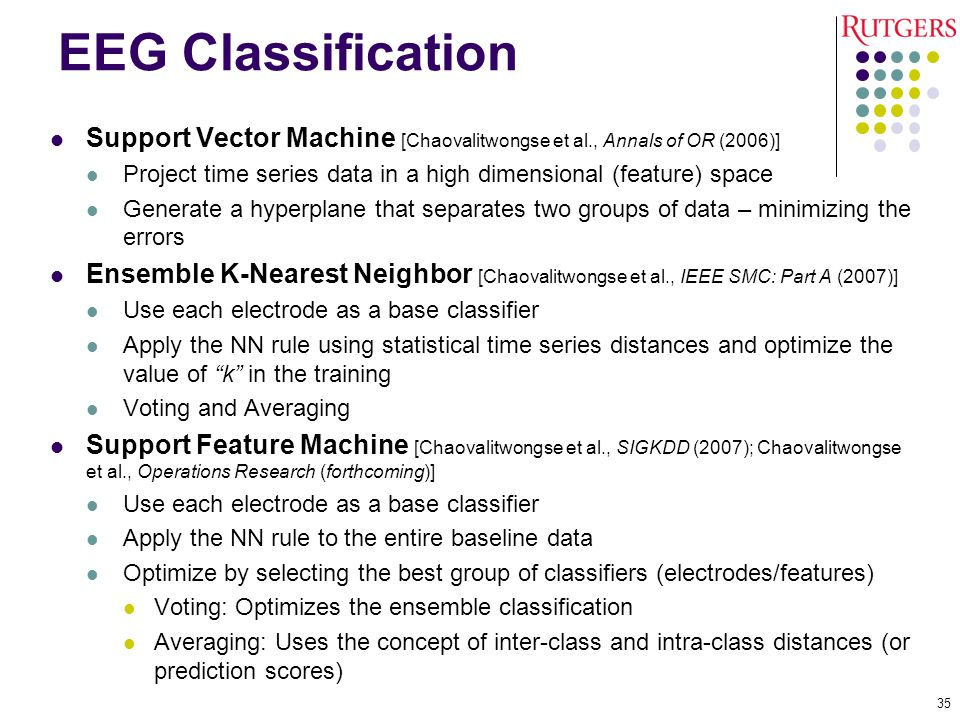 EEG Classification Support Vector Machine [Chaovalitwongse et al., Annals of OR (2006)]